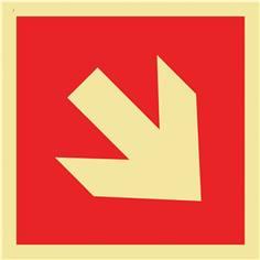 Signalisation incendie photoluminescente avec flèche directionnelle oblique