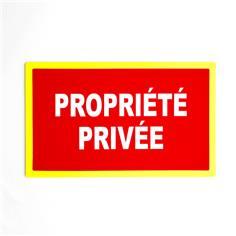 Panneau interdiction Propriété privée avec liseré jaune fluorescent - H 200 x larg 330 mm