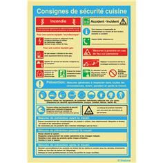 Consignes de sécurité en cuisine - PVC Photoluminescent - H 300 x L 200 mm