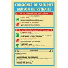 Consignes de maison de retraite - PVC Photoluminescent - H 300 x L 200 mm