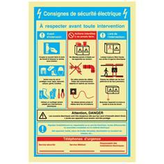 Consignes de sécurité électrique - PVC Photoluminescent - H 300 x L 200 mm