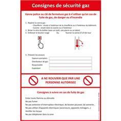 Consigne de sécurité coupure et fuite de vanne gaz - PVC 2 mm