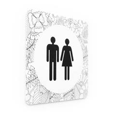 Plaque de porte Toilettes Hommes et Femmes - 150 x 150 mm - PVC de 2 mm imprimé - Gamme Mosaïque®