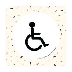 Plaque de porte Toilettes PMR - 150 x 150 mm - PVC de 2 mm imprimé - Gamme Mosaïque®