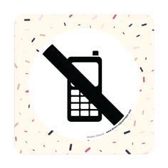 Plaque de porte Téléphone portable interdit - 150 x 150 mm - PVC de 2 mm imprimé - Gamme Mosaïque®