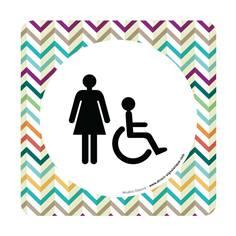 Plaque de porte Toilettes Femmes et PMR - 150 x 150 mm - PVC de 2 mm imprimé - Gamme Mosaïque®