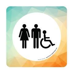 Plaque de porte Toilettes Hommes, Femmes et PMR - 150 x 150 mm - PVC de 2 mm imprimé - Gamme Mosaïque®