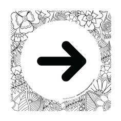 Plaque de porte Flèche à droite - 150 x 150 mm - PVC de 2 mm imprimé - Gamme Mosaïque®