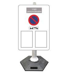 Kit avec poteau pour signalisation temporaire sur socle + panneau arrêté municipal - 9kg