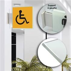Drapeau avec picto verre trempé recto/verso - Toilettes Handicapés - 200 x 200 mm