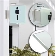 Drapeau avec picto verre trempé recto/verso- Toilettes Hommes - 200 x 200 mm - Gamme Glass
