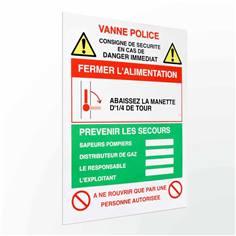 Consigne de sécurité coupure de vanne gaz
