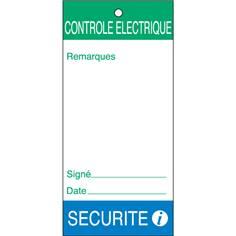 Lot de 10 Etiquettes avec collier - sécurité contrôle électrique