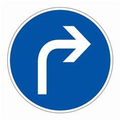 Panneau ´Direction obligatoire à la prochaine intersection à droite´ - R13