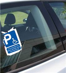 Papier autocollant dissuasif places handicapées à coller sur les vitres de voiture - H 150 x L 105 mm
