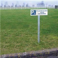 Panneau de Parking Si tu prends ma place prends mon handicap - H 150 x L 450 mm - Alu dibond 2 mm