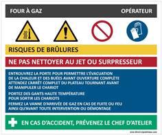 Fiche sécurité four à gaz - H 210 x L 300 mm - PVC 2 mm
