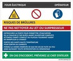 Fiche sécurité four électrique - H 210 x L 300 mm - Alu dibond 3 mm