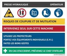 Fiche sécurité presse hydraulique - H 210 x L 300 mm - Alu dibond 3 mm