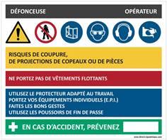 Fiche sécurité défonçeuse - H 200 x L 240 mm - PVC 2 mm