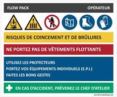 Fiche sécurité flow pack - H 210 x L 300 mm - Alu dibond 3 mm