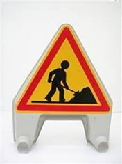 Panneau temporaire danger travaux en plastique - Ak5