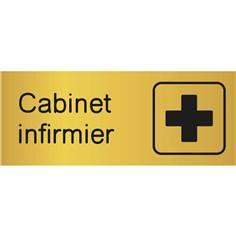 Etiquette gravée avec texte et picto Cabinet Infirmier - H 80 x L 200 mm - Gamme Métal