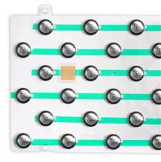 Kit avec 5 plaquette de 33 plots striés en inox et polyamide avec adhésif épais prêt à poser