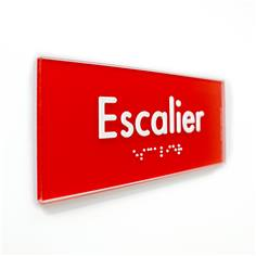 Plaque de Porte Pop Art® en plexi - Escalier - Texte en relief - H70 x L170 mm