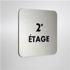 Plaque de porte aluminium brossé Texte 2eme étage - 100 x 100 mm - Gamme Bross