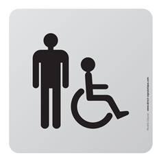 Plaque de porte aluminium brossé Picto Toilettes Hommes PMR - 100 x 100 mm - Gamme Bross