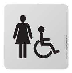 Plaque de porte aluminium brossé Picto Toilettes Femmes PMR - 100 x 100 mm - Gamme Bross