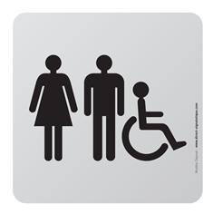Plaque de porte aluminium brossé Picto Toilettes Hommes, Femmes et PMR - 100 x 100 mm - Gamme Bross