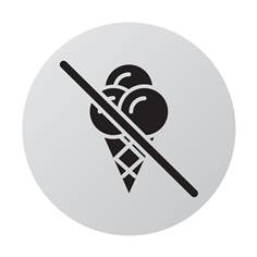 Plaque de porte aluminium brossé Picto Glace interdite - Ø 83 mm - Gamme Bross