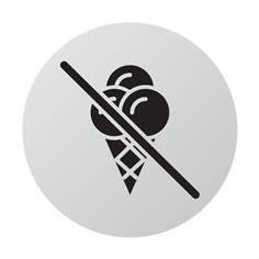 Plaque de porte aluminium brossé Picto Glace interdite - Ø 83 mm