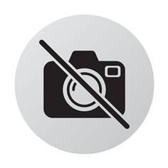 Plaque de porte aluminium brossé Picto Photos interdites - Ø 83 mm