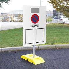 Kit pour signalisation temporaire panneau arrêté municipal avec poteau + socle - 9kg