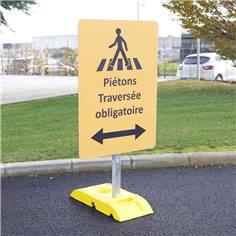 Kit pour signalisation temporaire panneau Travaux publics avec poteau + socle - 9kg