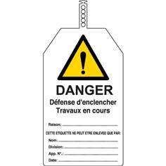 Lot de 10 Etiquettes avec collier - Danger défense d´enclencher travaux en cours