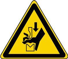 Panneau Danger Ecrasement de la main dans une presse plieuse ISO 7010 - W030