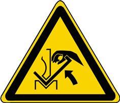 Panneau Danger Ecrasement de la main entre une presse plieuse et le matériau ISO 7010 - W031