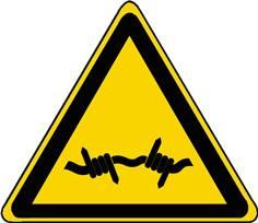 Panneau Danger Fil barbelé ISO 7010 - W033