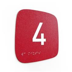 Plaque de porte Touchy® Square - Chiffre 4 - 120 x 120 mm - Relief et braille