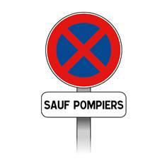 Kit Panneaux Stationnement interdit sauf pompier avec poteau - B6d+M9z