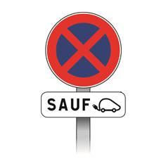 Kit Panneaux Stationnement interdit sauf véhicule électrique avec poteau - B6d+M6i