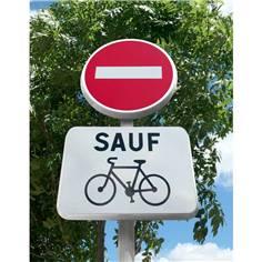 Kit Panneaux Sens interdit sauf vélo avec poteau - B1+M9V2