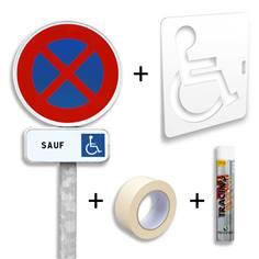 Pack place de stationnement PMR - Panneaux routiers + Pochoir
