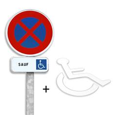 Pack place de parking handicapée - Panneaux routiers + Marquage thermocollé PMR