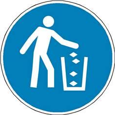 Panneau Obligation Utiliser la poubelle ISO 7010 - M030