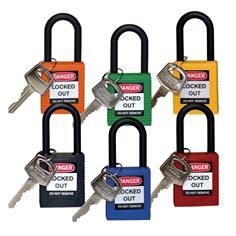 Cadenas tout nylon - non conducteur - H 38 mm - clés différentes - Lot de 6